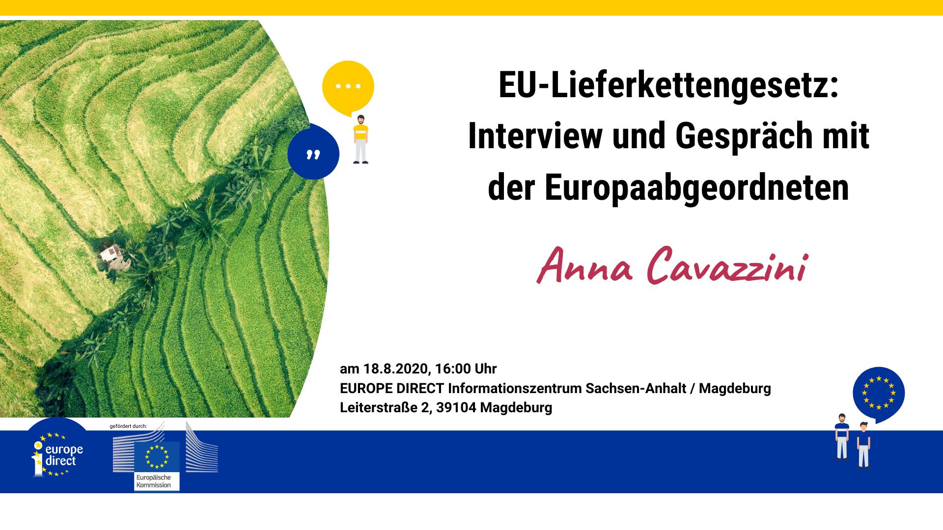 EU-Lieferkettengesetz: Interview und Gespräch mit Anna Cavazzini am 18.08., 16:00 Uhr